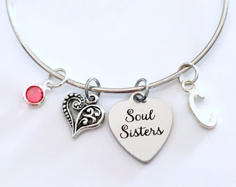 Soul Sisters Bracelet, Unbiological Sis, Best Friend Jewelry Silver Gift for BFF birthstone initial Personalized Custom Secret present girl