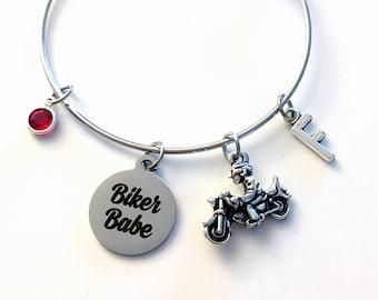 Motorcycle Bracelet / Biker Babe Jewelry / Gift for Biker Chick / Silver Charm Bracelet / Bangle Birthstone initial letter custom women