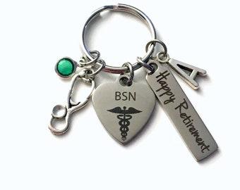 Retirement Gift for BSN Keychain, Bachelor of Science in Nursing Nurse Keyring, Retire Key Chain, Present him her women Men RN
