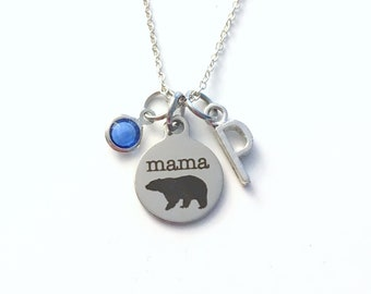 New Mom Necklace, Mama Bear Jewelry, Gift for Mother's Day Present Birthstone her silver Christmas Birthday Personalized Canadian Seller