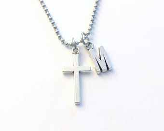 Cross Necklace for Man, Religious Gift for Men Teen Boy Teenage bead ball chain Crucifix Jewelry, confirmation first communion Stainless him