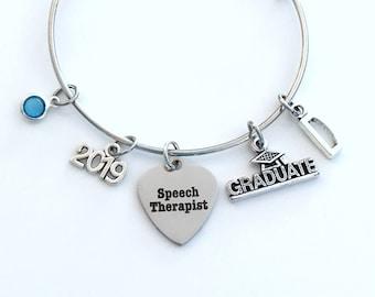 Speech Therapist Graduation Gift, 2019 Language Pathologist Therapy Grad Charm Bracelet Silver Bangle, ST Jewelry letter birthstone SLP 2018