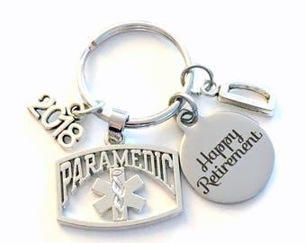 Retirement Gift for Paramedic Keychain 2018 2017 Medical EMT Symbol Boss Him Her Dad Key chain Keyring Retire Coworker Initial letter men