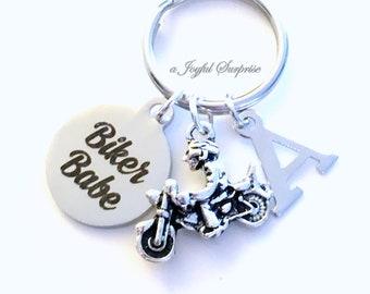 Biker Babe KeyChain, Motorcycle Keyring, Biker's Key chain, Gift for women, Birthday Gift for Biker Chick initial letter custom Personalized