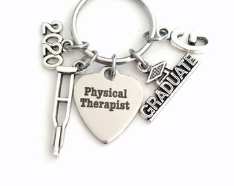 PT Keychain, 2020 Physical Therapist, Graduation Gift for Therapy Student Key Chain Grad Keyring Initial letter men guy Women her