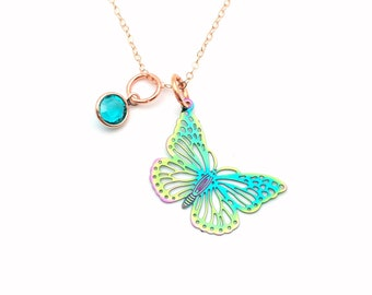 Butterfly Necklace, 14K Rose Gold Jewelry, Electroplated Stainless Steel Rainbow Charm, Gift for Teenage Daughter, Teen Girl Present her