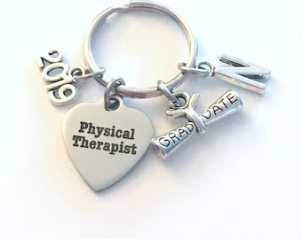 Physical Therapist Graduation Gift, PT Keychain for Therapy Student 2019, Key Chain Grad Keyring with Initial letter Him Her women Men