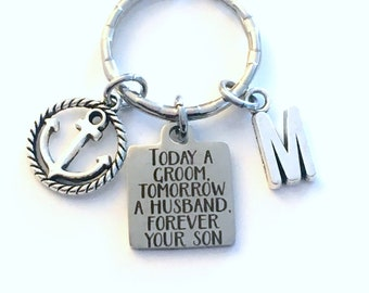Grooms Parent Gift Keychain, Today a groom, tomorrow a husband, forever your son Key Chain, For Father Mother Parents from present him her