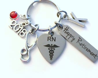 Registered Nurse Retirement Present, 2018 RN Keychain, Gift for Women or Men Retire, Key Chain Keyring him her Personalized Custom Nursing