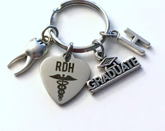 RDH Graduation Gift, 2019 Registered Dental Hygienist Keychain for Dental Student Grad Key Chain Keyring Graduate Tooth charm Her him Women