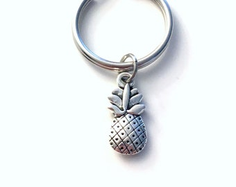 Pineapple Keychain, Pine apple Key Chain, Gift for Fertility Good luck Charm, IVF TTC Keyring, Food Planner Charm Recipe Book Clip