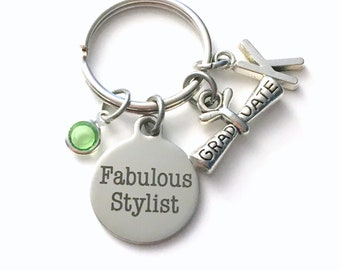 Fabulous Stylist Graduation Gift Keychain, Hairdresser Key Chain, Fashion Designer Keyring, Interior Decorator men women her grad hair cloth