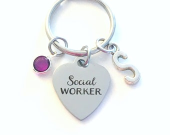 Social Worker Keychain, MSW Gift for Son Daughter Graduation Present, Key Chain Keyring Jewelry Initial Birthstone retirement her him degree