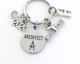 Architect Graduation Present, 2020 Architecture Keychain, Gift for Architectural Technology Student, Key Chain Grad Keyring him her 2021