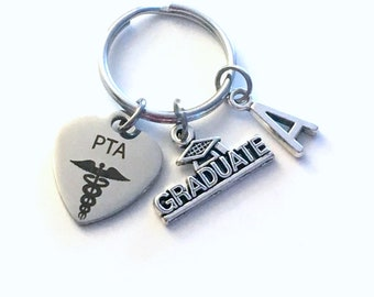 Graduation Gift for PTA Keychain, 2020 Physical Therapist Assistant Therapy Student Key Chain Grad Keyring with Initial letter man 2021