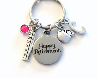 Retirement Gift for Teacher Assistant KeyChain, School Secretary Key Chain Co-worker Apple Ruler present her women retire mom Office Manager