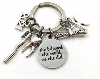 Gift for Dental Graduation Gift, 2021 Dentist Hygienist Keychain, Orthodontist Key Chain Keyring Graduate RDH DA men women customized
