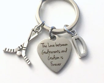Godparent Gift, The Love between Godparents and Godson is Forever Keychain, Godfather Godmother Key Chain Nephew Initial Present Jewelry him