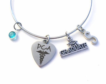 Graduation Gift for PCA Jewelry, Charm Bracelet, PCA Grad Bangle, Personal Care Attendant Assistant Initial Letter Birthstone Women 2019