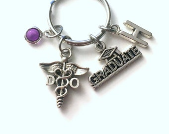 Graduation Gift for DO Keychain, Doctor of Osteopathic Medicine Key Chain, Osteopath Caduceus Initial Birthstone Present Graduate women