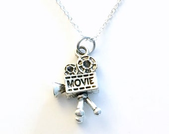 Film Students Gift, Camera Necklace Pendant, Silver Video Jewelry Actress Actor Man Men Camera on Tripod Christmas Present Long Videographer