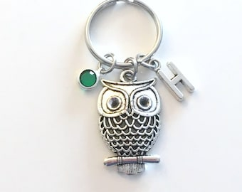 Owl Keychain, Bird Keyring, Naturalist Key Chain, Gift for Nature Silver Teacher Jewelry Purse Charm Planner Hoot Filigree her girl Night