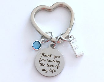 Gift for Mother of the Groom or Bride Keychain, Mom Key Chain, Mother's Day present, Thank you for raising the love of my life Heart ring