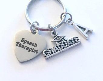 Speech Therapist Graduation Present, 2021 SLP Therapy Keychain, Gift for Language Pathologist, Key Chain Grad Keyring Initial women