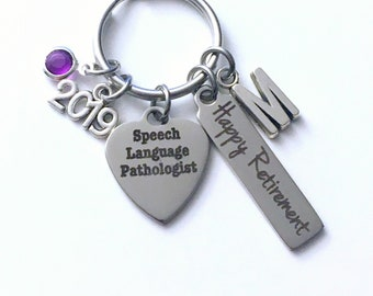 Retirement Gift for Speech Language Pathologist Keychain, 2019 Therapist Key Chain Therapy Keyring him her men women present Initial Letter