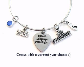 Speech Language Pathologist Graduation Gift, 2021 Therapist Therapy Grad Charm Bracelet Silver Bangle, ST Jewelry letter birthstone SLP