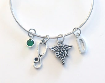 Bachelor of Science in Nursing Bracelet, BSN Jewelry, Nurse Charm Bangle, Silver Medical Caduceus Stethoscope, Gift for women birthstone her