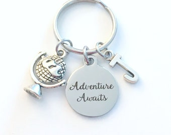 Adventure Awaits Keychain, Globe Keyring, Gift for Best Friend Present, Travellers Key Chain, Birthstone Initial Birthday BFF Going away her