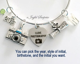 Photography Graduation Bracelet, 2018 Photographer Grad Gift for Student Silver Bangle initial birthstone letter custom present her women
