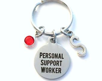 Personal Support Worker Keychain, PSW Key Chain Keyring, College Graduation Initial Birthstone Retirement present women her him men woman