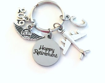 Pilot Retirement Present, Flight Instructor Key Chain, Airplane Keyring, him her men women Retire Birthstone Man Gift for Wings Plane