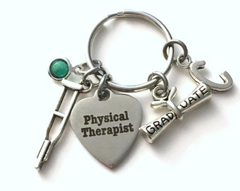 PT Graduation Gift for Physical Therapist Keychain, Therapy Key Chain, Crutch Grad Present crutches Keyring women Initial Birthstone her him