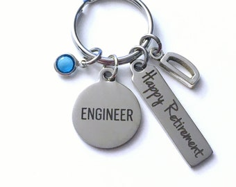 Retirement Gift for Engineer Keychain,  Civil Key Chain Mechanical Keyring him her men women present Initial Letter Industrial Chemical