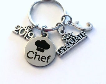 Culinary Graduation Present, 2019 Chef Keychain, Gift for Graduate Key Chain Grad Keyring with Initial letter, Congrats Cooking Pastry