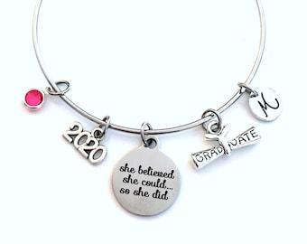 Graduation Gift for Teenage Girl Bracelet, She believed she could so she did 2020 Student Grad Silver Bangle University Jewelry High School