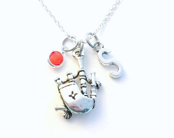 Bagpipe Necklace, Silver Bag Pipe Jewelry, Highland Music Gifts for Irish Music Highland Games Celtic Friend Present initial birthstone Wind