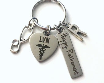 Retirement Gift for LVN Nurse Keychain, Licensed Vocational Nursing Keyring, Retire Key Chain Present him her women Stethoscope charm