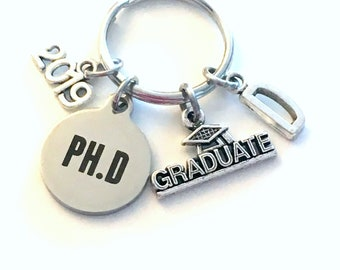PH. D Graduation Gift, 2019 PH.D Keychain for Doctorate Student Grad University Key Chain Keyring Graduate Doctor of Philosophy letter 2020