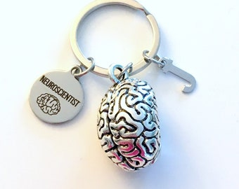 Neuroscientist KeyChain, Brain Keyring, Psych Student Key Chain, Gift for Neurologist Major Doctor Keyring Graduation initial letter custom