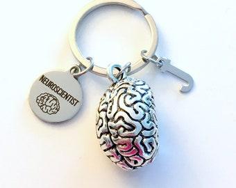 Neuroscientist KeyChain, Brain Keyring, Psych Student Key Chain, Gift for Neurologist Major Doctor Keyring Graduation initial letter custom