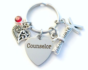 Graduation Gift for Counselor Keychain, Counsellor Key Chain, Initial Birthstone Present Graduate men women her him scroll heart therapist