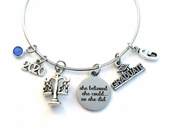 Gift for Legal Secretary Graduation Bracelet, 2020 Lawyer Grad Gift, Law Assistant Student Graduate, she believed Bangle Jewelry Charm