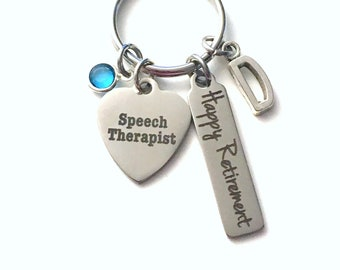 Retirement Gift for Speech Therapist Keychain,   Language Pathologist Key Chain Therapy Keyring him her men women present Initial Letter