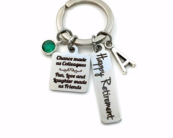 Retirement Gift for Coworker Keychain, Chance made us Colleagues, fun, love and laughter made us friends Present, Co-worker Key Chain Boss
