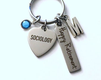 Sociology Retirement Present, Sociologist Keychain, Gift for Women Men Retire Key Chain Keyring him her custom Councillor social worker