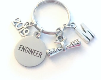 Engineer Graduation Gift Engineering Keychain for Mechanical Civil Industrial Student Grad 2019 Key Chain Keyring Graduate initial 2017 him